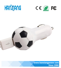 Football Mini 12V Battery Car Charger For Ipad, USB Charger For Car