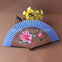 Wholesale custom printed blue bamboo and cloth folding flowers hand fan