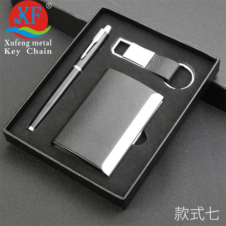 metal playing aluminum card case with leather keychain pen gift set business