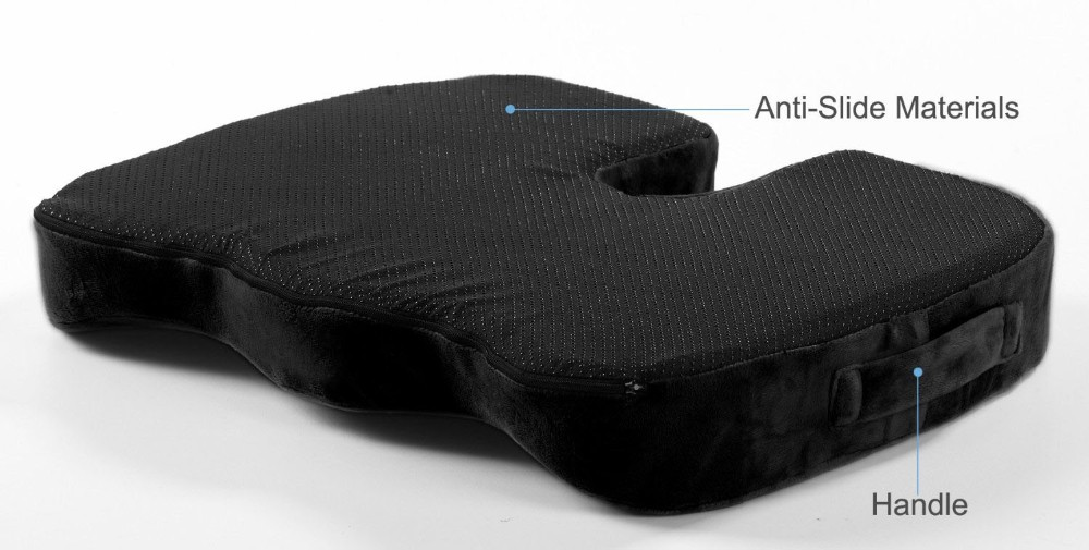 Gel-Enhanced Non-slip Coccyx Memory Foam Seat Cushion for Back Pain Relief Tailbone Support Sciatica, Healthy Posture, Office