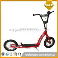 12'' Double Kickstand Red Big Wheels Popular Child Push Scooter
