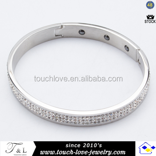 fashion accessories cz diamond bracelet charms stainless steel bangle
