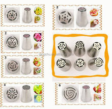 6pcs/set Russian Piping Tips Nozzles High Quality Hot Selling Stainless Steel Pastry Tips Cream Mold Decorating Tools Cake Tulip