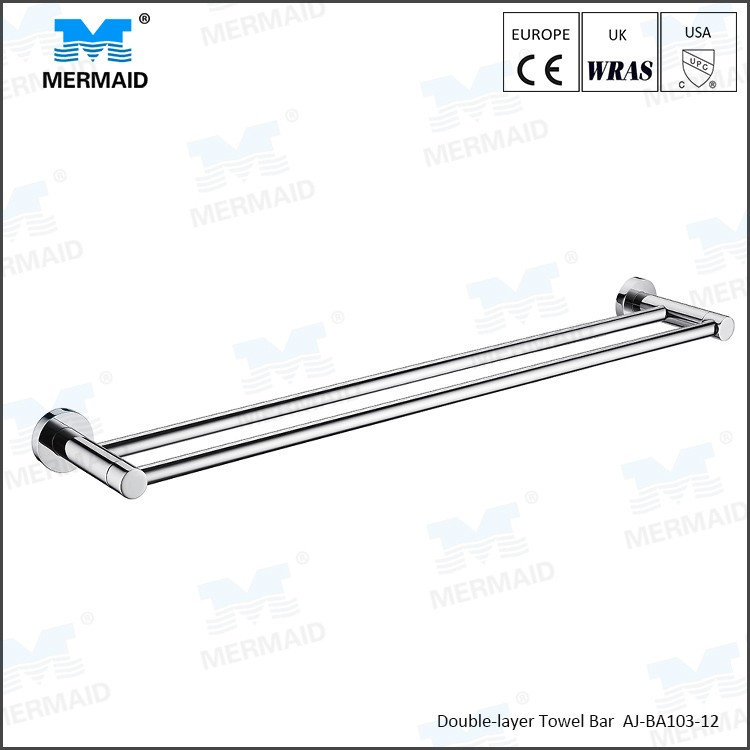 Top Quality Exquisite double Towel Bar Towel Holder stainless steel Made Chrome Finish Bathroom accessories