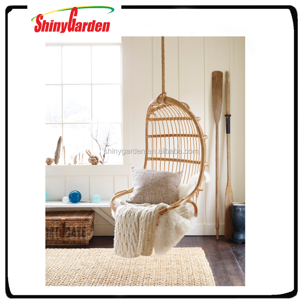 outdoor indoor swing chair Ceiling hanging rattan chair with double hanging rope