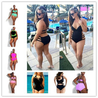 MOON BUNNY one piece swimsuit 2016 new solid color swimwear women sey monokini maillot de bain femme tight bodysuit plus size L