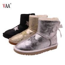 CF-112 Free Samples Perfect Bowknot Australian Cow Leather Warm Ankle Boots 2018 Women Shoes Winter