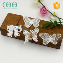 Garment accessories Organza butterfly shape white lace embroidery patch