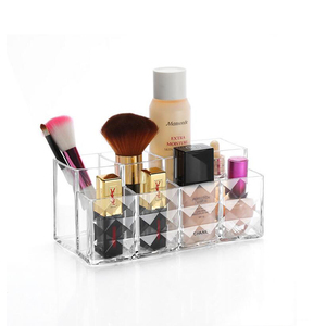 diamond pattern Acrylic injection mold-made cosmetic holder acrylic clear cube makeup organizer