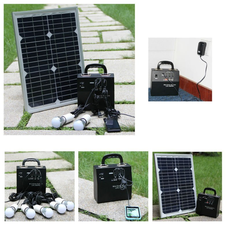 20--50W Portable solar power device for LED Lighting System for home & garden lighting and LED Cafe Menu