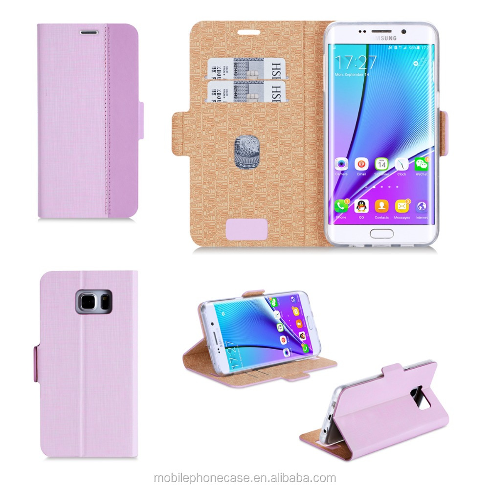 Stylish Design Slim New Product PU+ TPU Leather Mobile Phone Case Cover with Card Slots for Samsung S6 Edge Plus