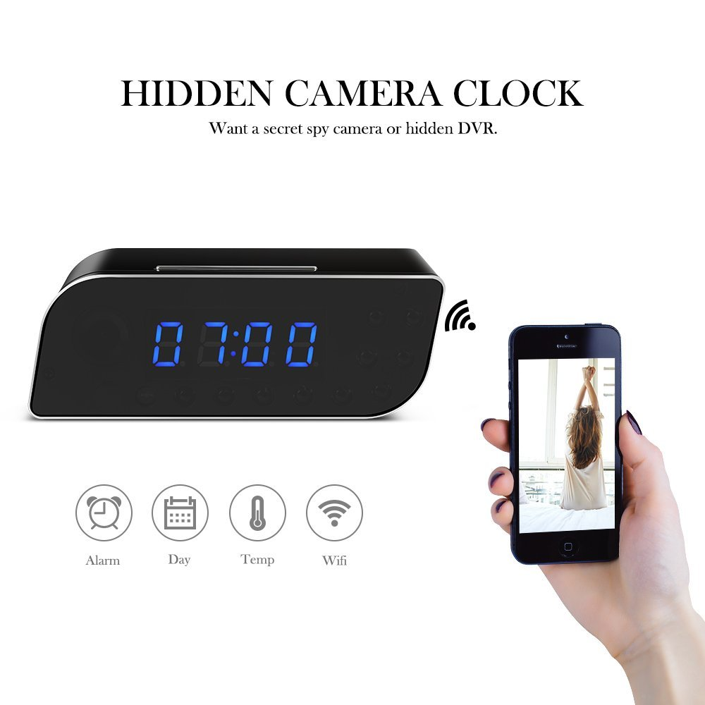 1080P HD wifi spy hidden digital table alarm clock camera with night vision