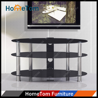 Hometom Stainless Steel Leg 8mm+5mm Thickness Painting Tempered Glass Black TV Stand
