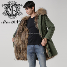 High Quality Khaki Green Mens and Women Fox Fur Jacket For Wholesale
