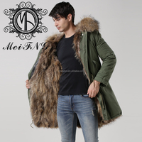High Quality Military Styles Dyed Fox Fur Lined Winter Mens Coat Long Length For Wholesale/ Retail and Dropshipping