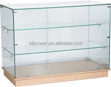 Stand counter for shop, tempered glass showcase wooden base, wine display cabinet