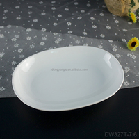 "7.6"" inch oval white bread plates appetizer salad serving ceramic porcelain wholesale cheap dessert new arrival personal plate"