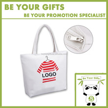 Customize Imprint Logo Canvas Beach Tote Bag with Zipper Closure