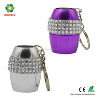 Mini egg shape diamond LED keychain light
