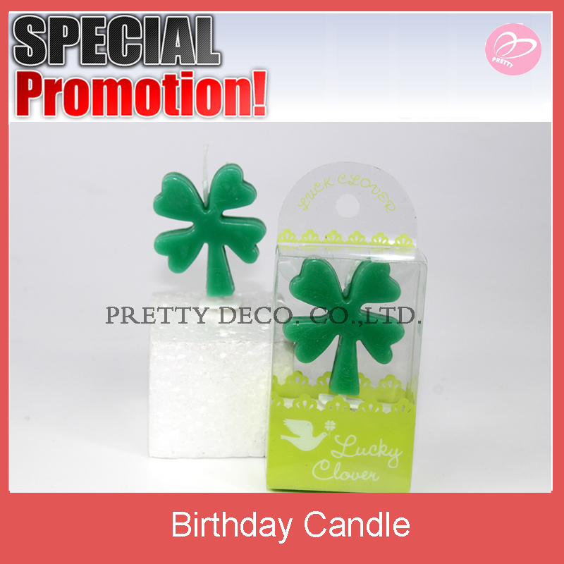 Green Christmas leave stick candle for birthday decoration