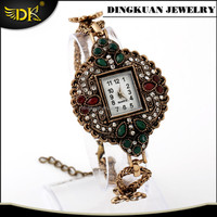 antique gold plated jewelry chain bracelet watch wholesaler cheap wrist watches for women