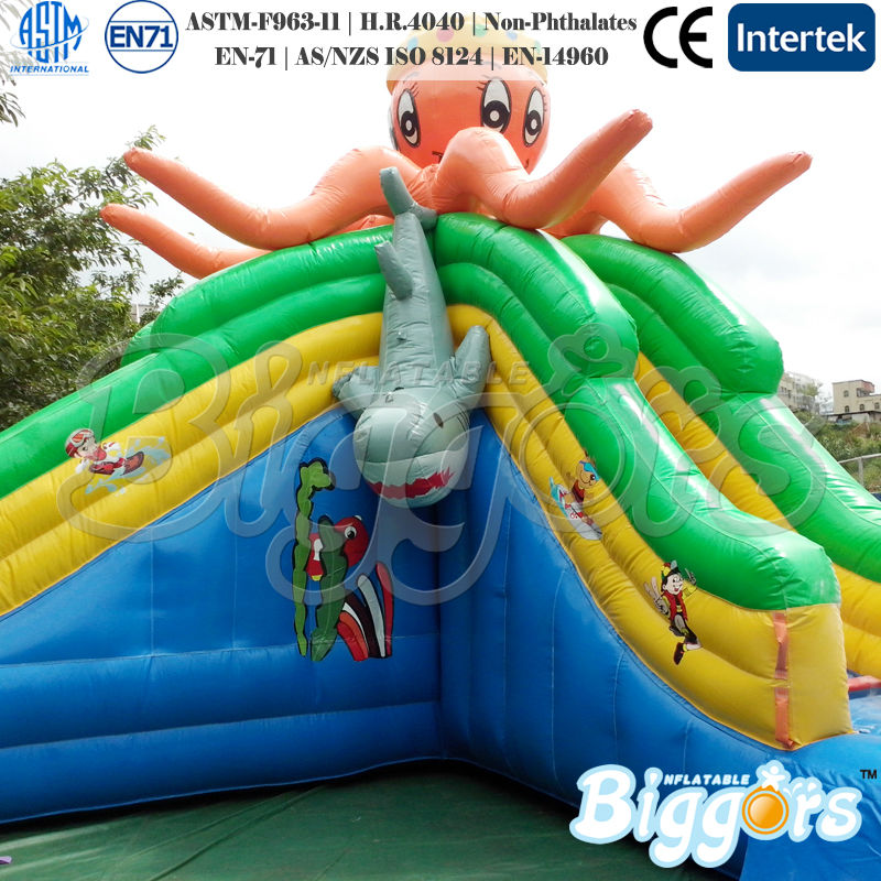 Water Park Octopus And Shark Theme Lake Inflatable Water Slide