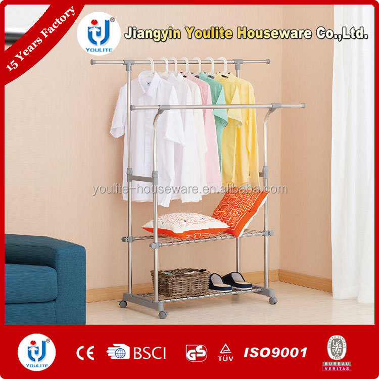 movable double-pole wall mounted clothes drying rack