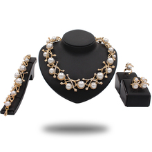 Wholesale gold plated italian jewelry set African fashion pearl beads jewelry sets stone jewelry