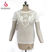 2017 New Arrival Lace Trim ladies t-shirts ladies tops short sleeve women t shirt