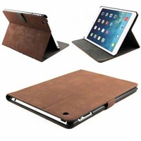 Brown Leather Flip Case for New iPad Air iPad 5 Stand Suede Cover