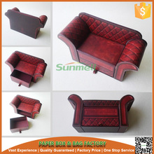 New design sofa chair shape cardboard sliding gift box, custom cardboard package design box