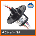 Hot selling Rotary joint 22mm 6*2A 6 Conductors/wires of mini capsule slip ring