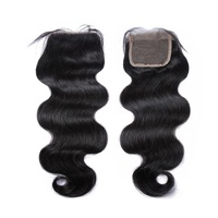 wholesale 100% Human virgin raw hair Brazilian hair extension free parting lace closure 4*4 body weave