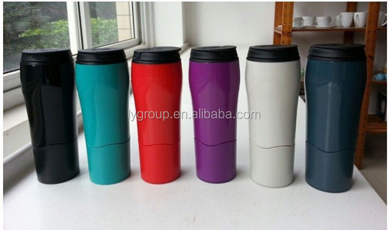 Magic double wall plastic wont fall over <strong>cup</strong>,customized Suction Mug travel mug,non fall mug