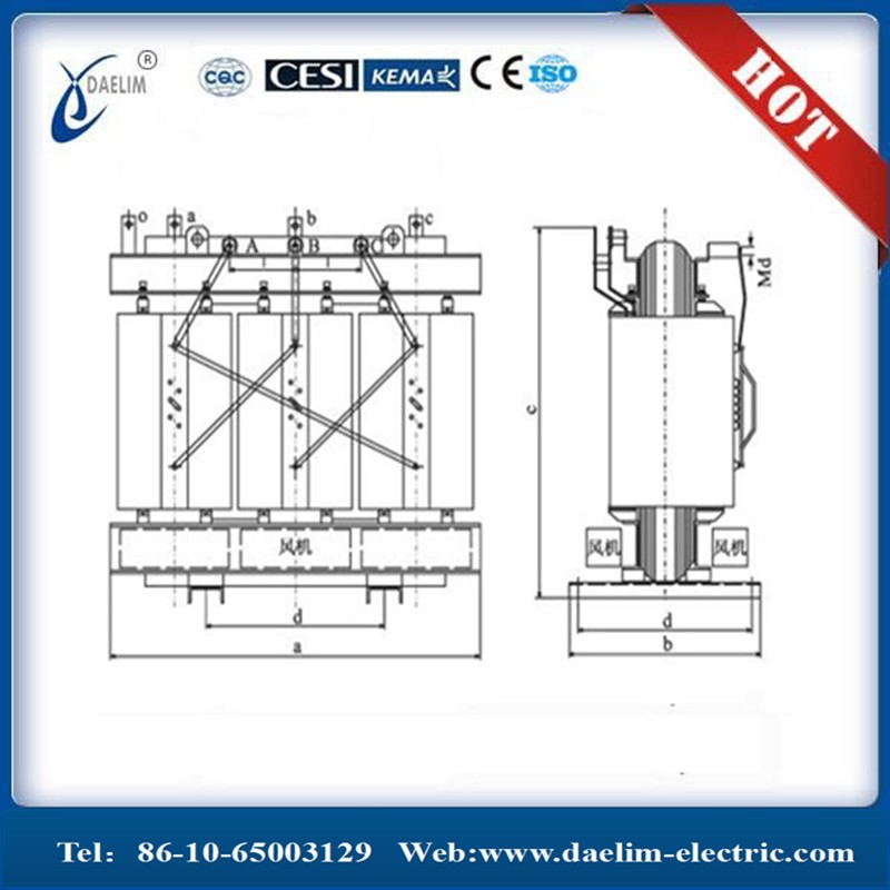 SC(B) Series 10kv dry type transformer 1500kva with OLTC
