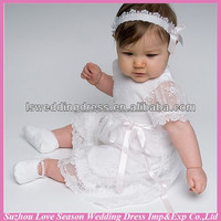 LSBB0002 White lace appliqued scalloped hem ribbon front tea length with hair band short sleeve baby-dress-pictures