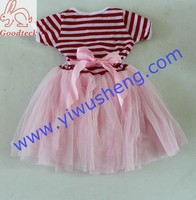 red and white vertical stripes wholesale price frock design lovely chiffon and sequin tutu printed children girl dress