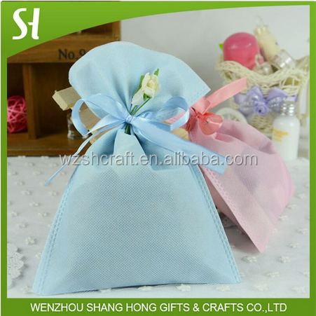 light blue christmas drawstring gift bags