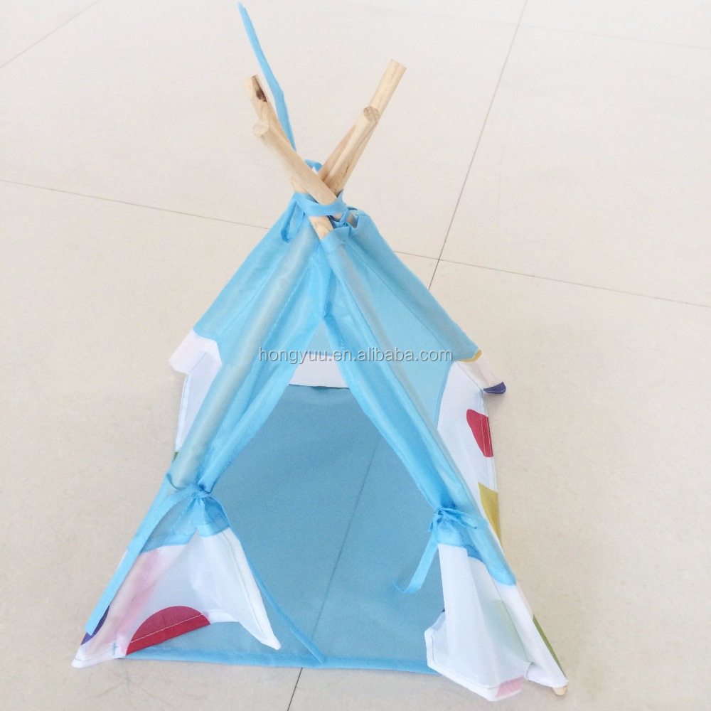 Wood Pet House Teepee Washable Durable Foldable Small Dog and Cat Tent