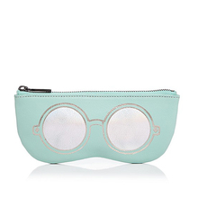 custom brand Glasses pictures with PU plain cosmetic bags