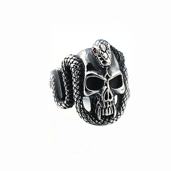 RI00114 Yiwu WT stainless steel serpentine skull ring, diamond-studded men's business jewelry wholesale
