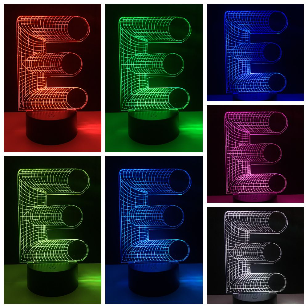 Creative String letter D Touch sensor 7 color change baby sleep night light lighting 3D LED kid study apply desk table lamp gift
