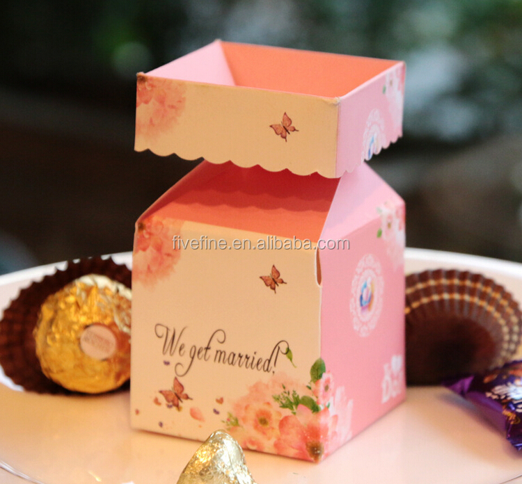 Hot sale Wedding Paper Favor Box Pink Wedding Paper Favor Box Ribbon Wedding Paper Favor Box