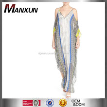 Caftan-style print cold shoulder silk casual chiffon maxi dress latest elegant chiffon casual dresses