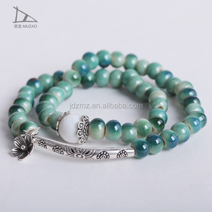 Women Ceramic Enamel fine jewelry Porcelain Bracelets Snap Bangle buddha bracelet Prayer Mala Amulet Meditation Jewelry
