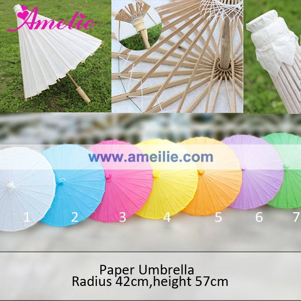 Amelie White Wedding Paper Parasol Umbrella