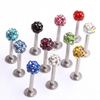 New Surgical Steel Crystal Ball Lip Ring Labret Tragus Ring Barbell Body Piercing Jewelry