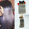 Brazilian Virgin Hair Best Quality 8A Ombre #1b/Silver Grey Ombre Hair Extensions Human Hair Weaves
