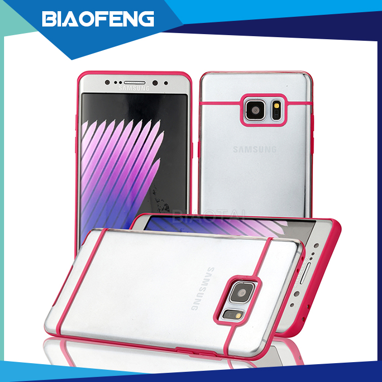 Special design shockproof tpu pc combo transparent protective phone case for samsung galaxy note 6