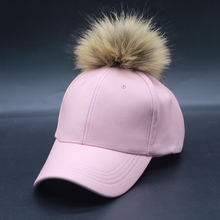Custom New Style Leather Suede Cap Black Color Raccoon Fur Ball Cap